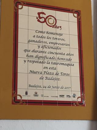 Recuerdo a los 50 años de la Nueva Plaza de Toros de Badajoz, 24/06/2017