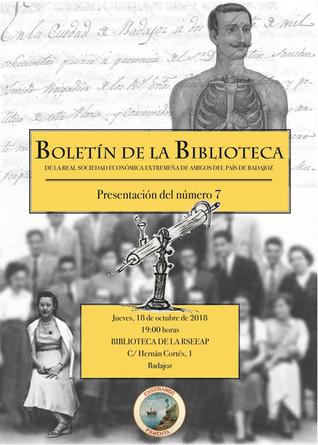 Presentación del Boletín de la Biblioteca de la RSEEAP nº 7 18/10/2018 19.00 h.