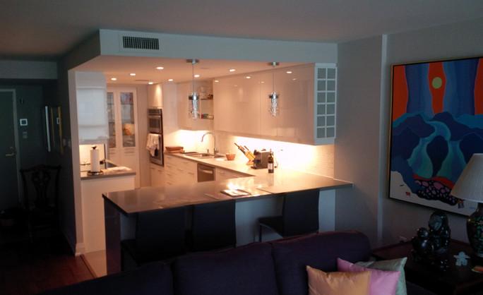 High gloss condo kitchen