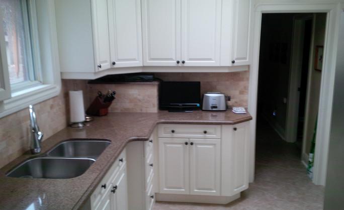 Toronto kitchen with stair bulkhead