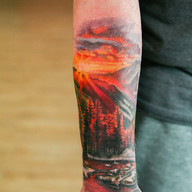 Sunset landscape color tattoo cover up