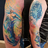 Watercolor zodiac space tattoo