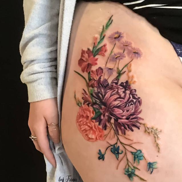 flower tattoo thigh sexy vintage yegtattoo stalberttattoo maximumcolor