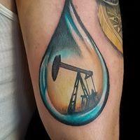 Oil drop tattoo