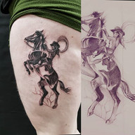 Cowgirl on horse black and grey tattoo
