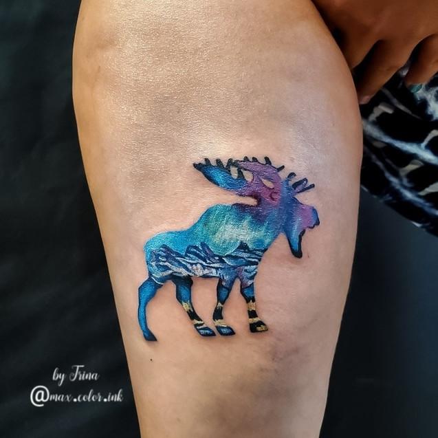 moose double exposure tattoo