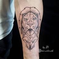 Geometrical lion fox foream tattoo