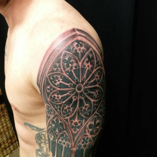 Cathedral shoulder tattoo