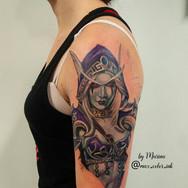 Warcraft Silvana portrait tattoo