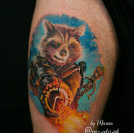 Guardians of the Galaxy Rocket color tattoo