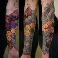 Bees in space geometrical sleeve tattoo