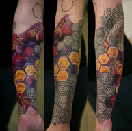 Bees in space geometrical sleeve tattoo