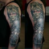Wolf headdress woman portrait landscape black and grey tattoo