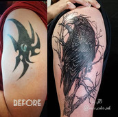 cover up raven tattoo
