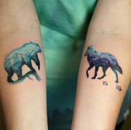 Double exposure bear wolf color tattoo