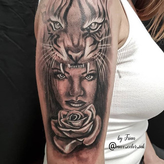 Tiger headdress female rose shoulder tattoo