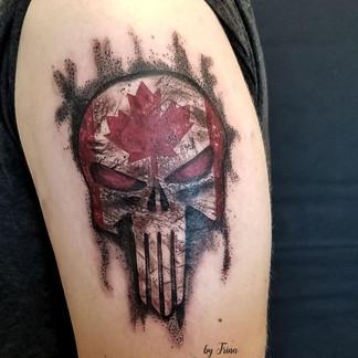 Rustic punisher canadian tattoo