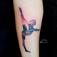 Double exposure gymnast forearm tattoo