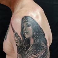 Pirate girl realistic black and grey tattoo