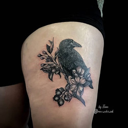 raven tattoo thigh stalbert edmonton