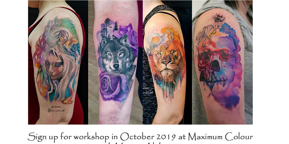 Learn how to tattoo watercolor | worshop | Maximum Colour Ink