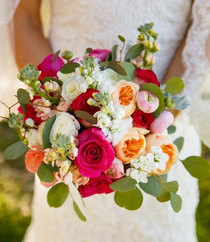 bouquet peach + pink