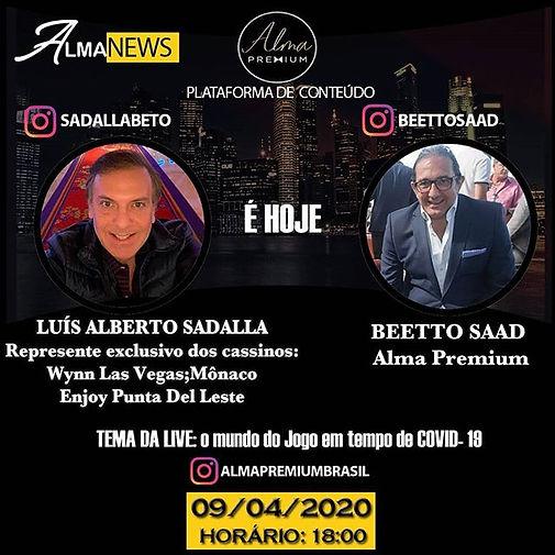 Nossa LIVE de hoje será com Luis Alberto