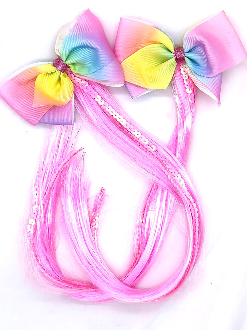 2 ponytail hair bow pack