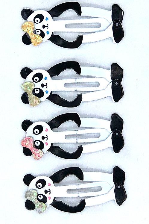 Panda Bow Snap Clips