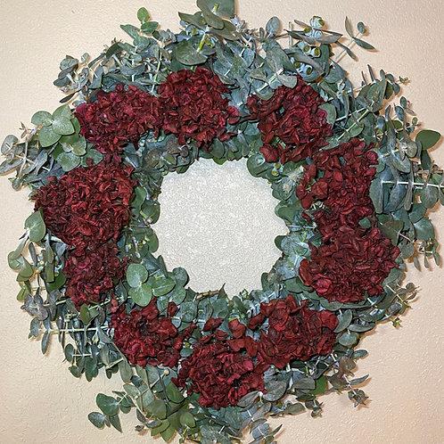 "Large Eucalyptus with Red Hydrangea wreath  26"""