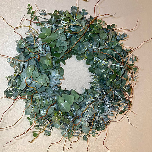 """Large Eucalyptus with willow branches fresh wreath  26"""""""