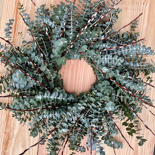 """Eucalyptus with Pussy willow fresh wreath 20"""""""