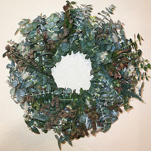 "Large Eucalyptus with Pine fresh wreath  26"""