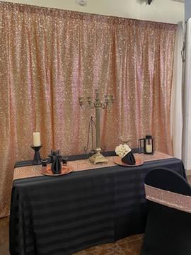 Rose gold sequins backdrop