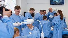 Surgeons operating during Trauma Academy hands-on course