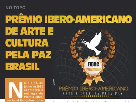 """""""No Topo"""" a matéria sobre o """"Prêmio Ibero-Americano de Arte e Cultura pela Paz Brasil""""."""