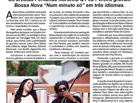 """Os artistas Fernanda Noronha & Peu Pereira gravam Bossa Nova """"Num minuto só"""" em três idiomas."""