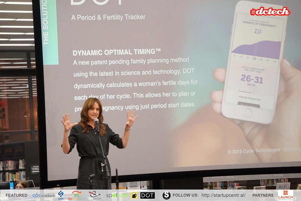 Cycle Technologies Founder Leslie Heyer demonstrates Dot The App for family planning and birth control using just a period start date and Dot's patent pending technology, Photo courtesy of DC Tech
