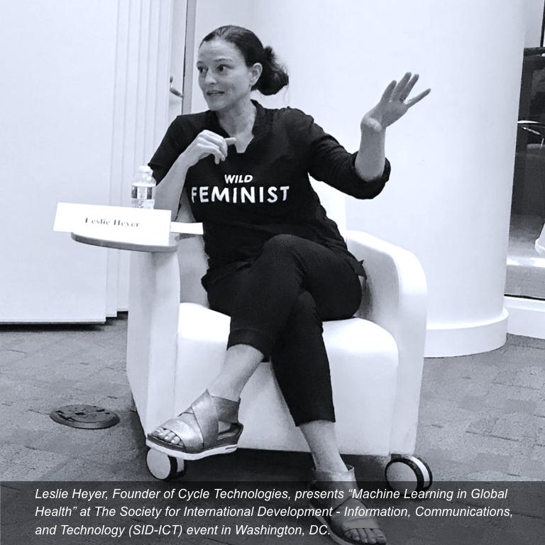 "Leslie Heyer presenting ""Machine Learning in Global Health"" at Society for International Development, Washington DC, Sept2018"