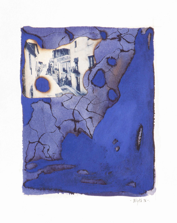 Mediterrania 1996 35'5x28'5cm Collage and oil paint in handmade paper