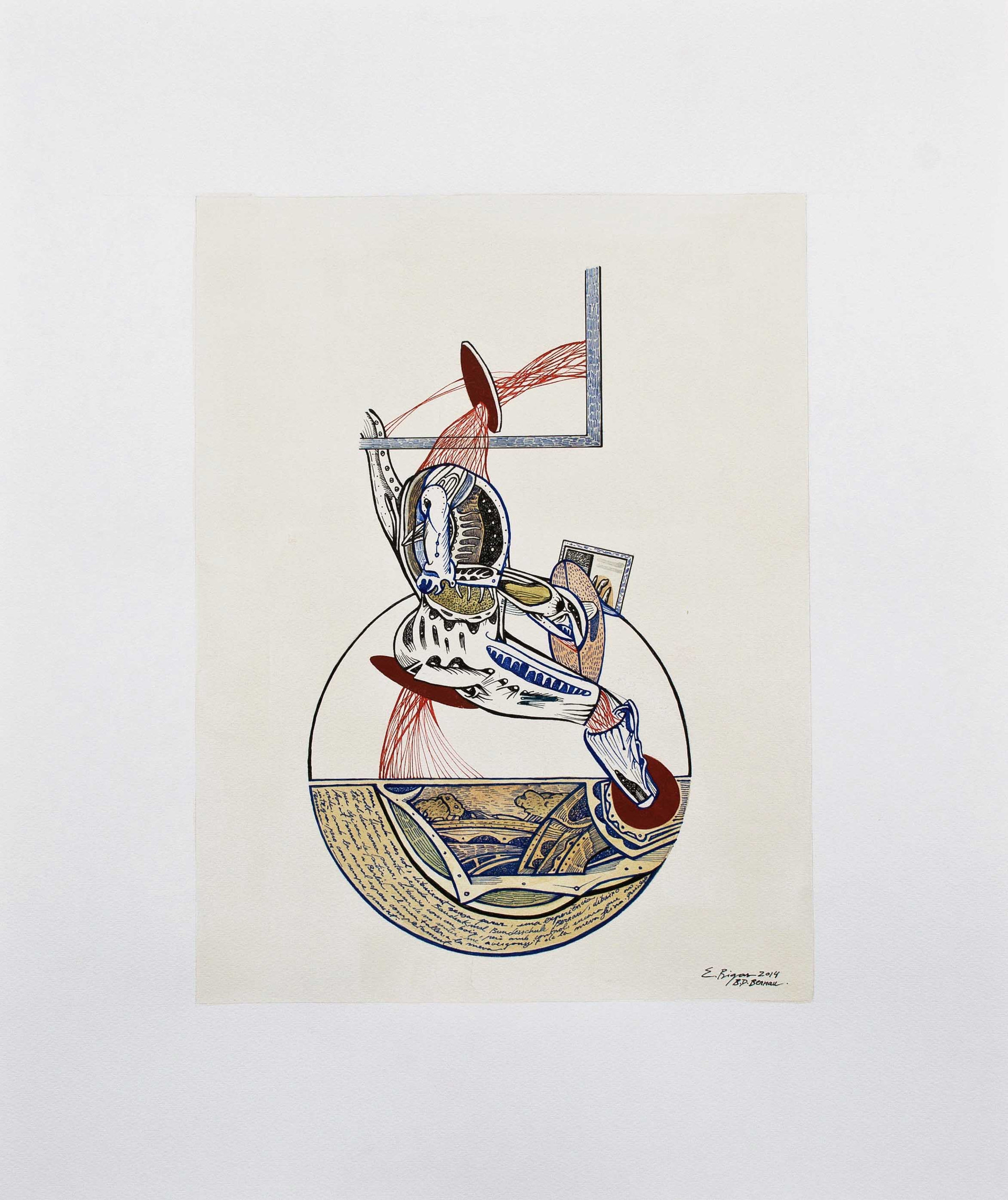 Trapped tensions 2014. 60x50cm. Watercolour, gouache and Ink on paper