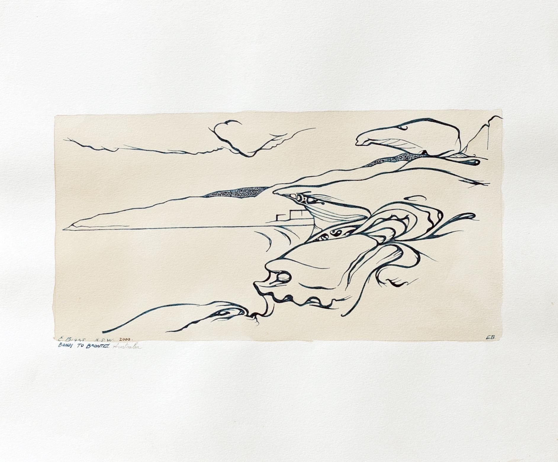 Bondi to Bronte 2000 24x28.5cm. Tea and Ink on paper