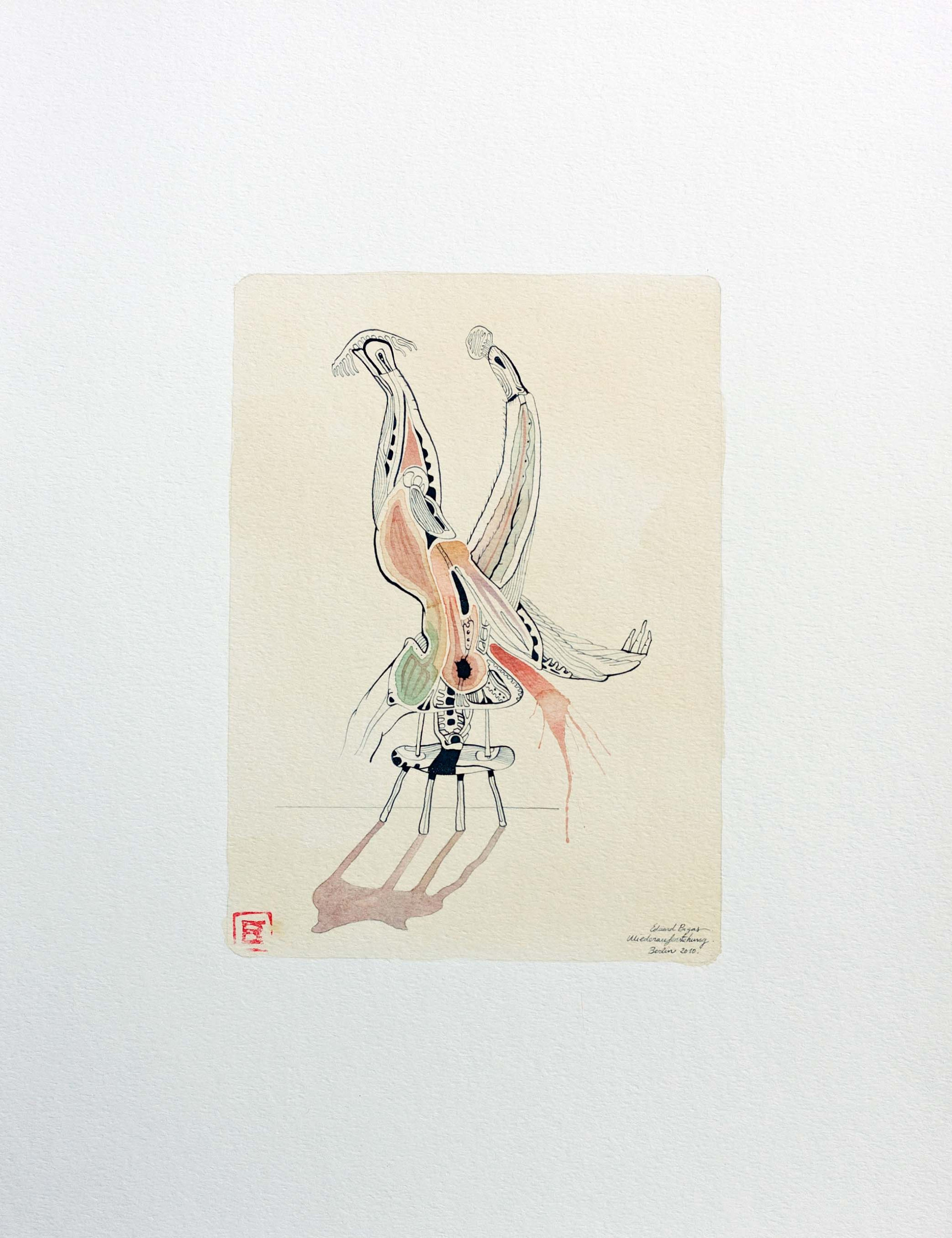 The sacrifice 2010 50x65cm. Tea, watercolour and Ink on paper
