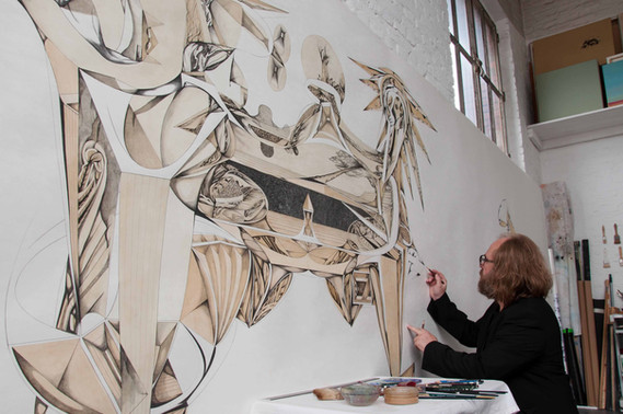 Working on the drawing Somewhere between Pompeii and Mars Graphite pencil and tea on paper 195x490cm Summer 2017