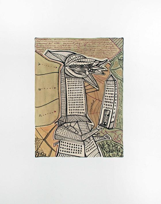 Metropolis 2000 35.5x51cm. Tea, watercolour and Ink on paper
