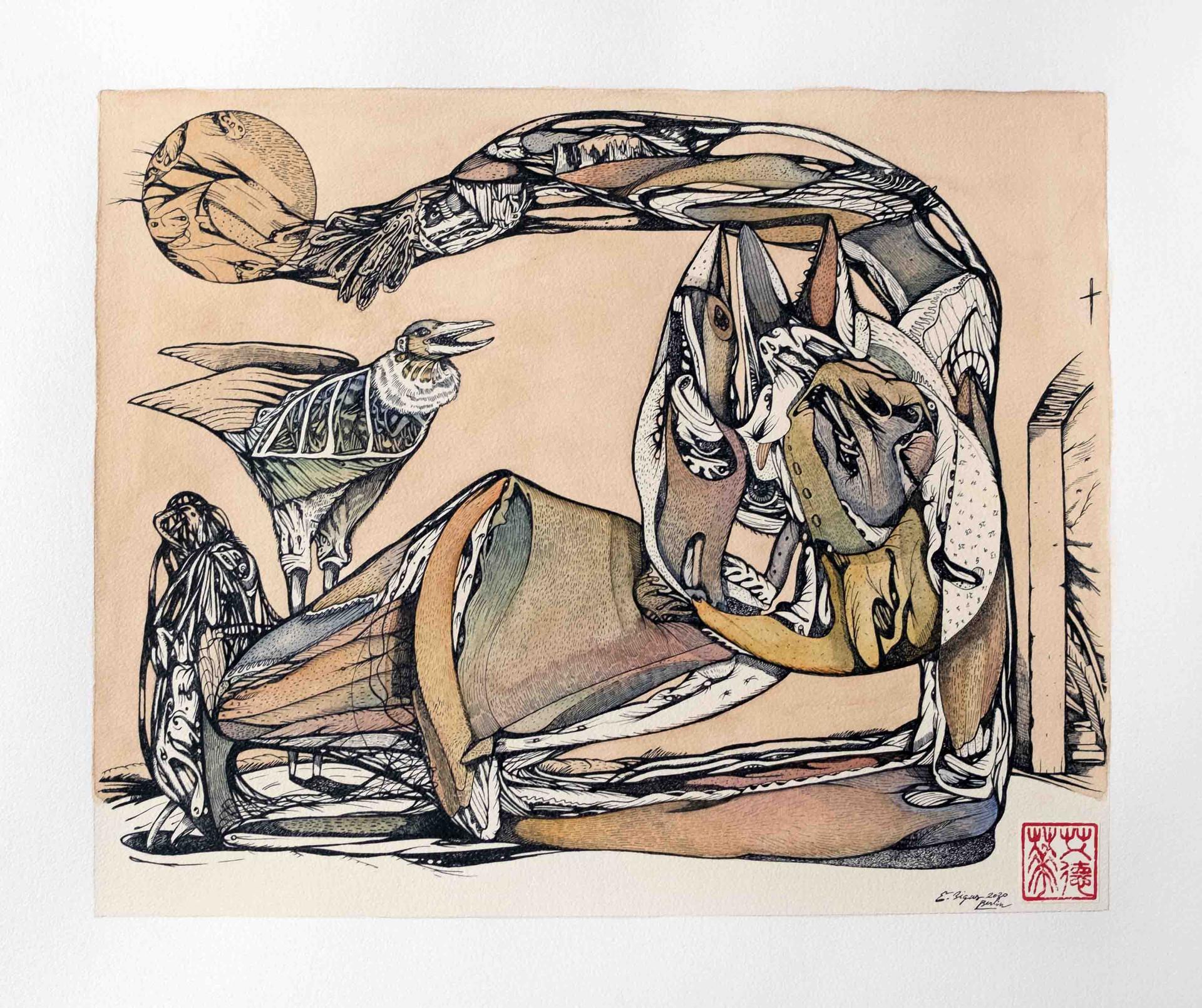 La mort vestida 2020 45.5cmx53cm Ink, watercolour and tea on paper