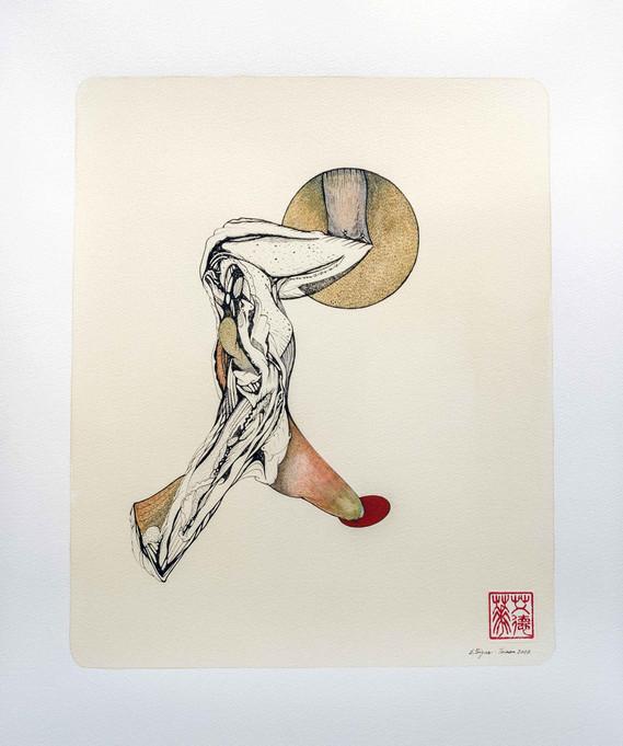 Levitation 2020 45.5cmx53cm lnk,watercolour, gouache and tea on paper