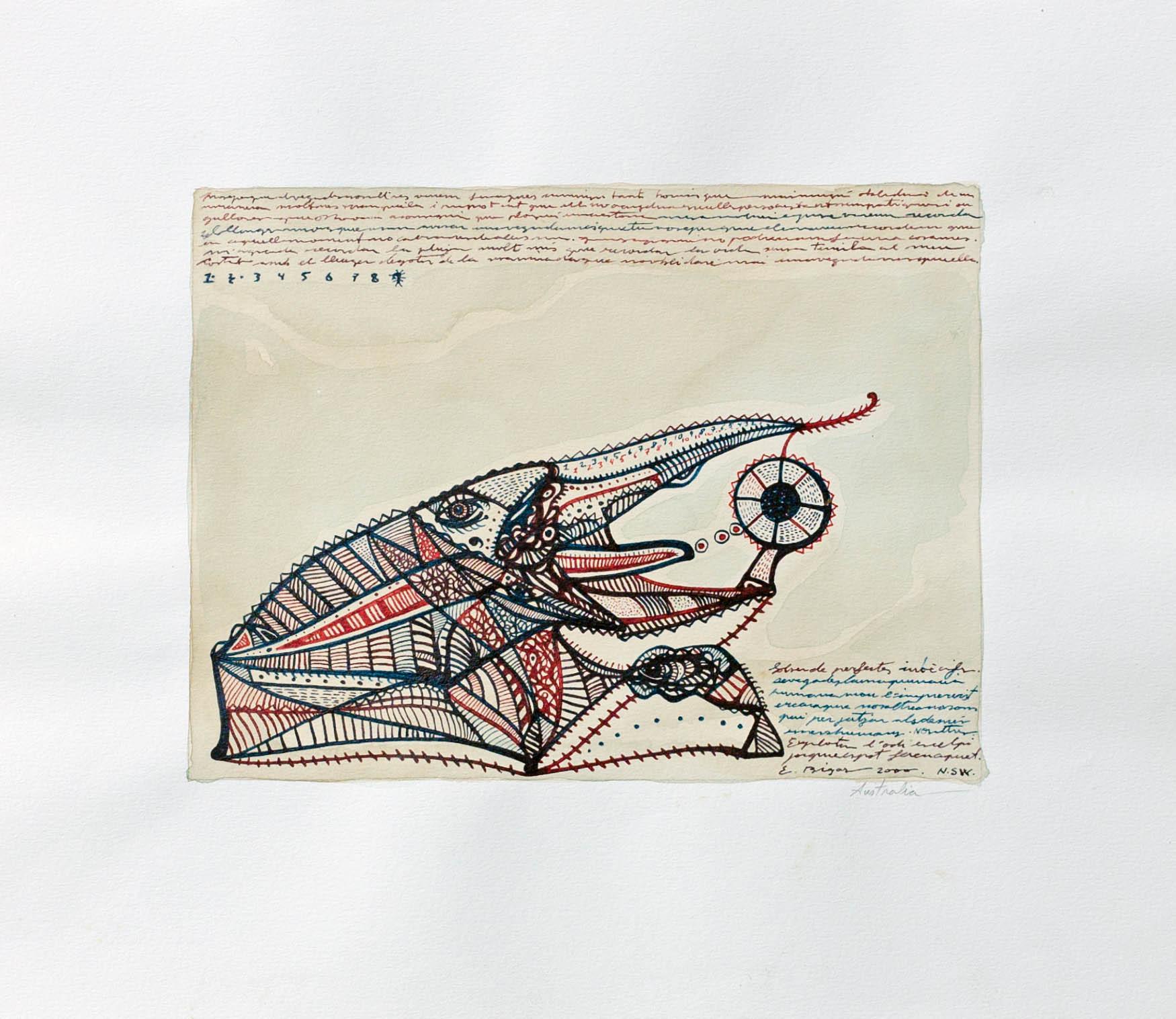 Australia 2000 27'5x24cm. Tea, watercolour and Ink on paper