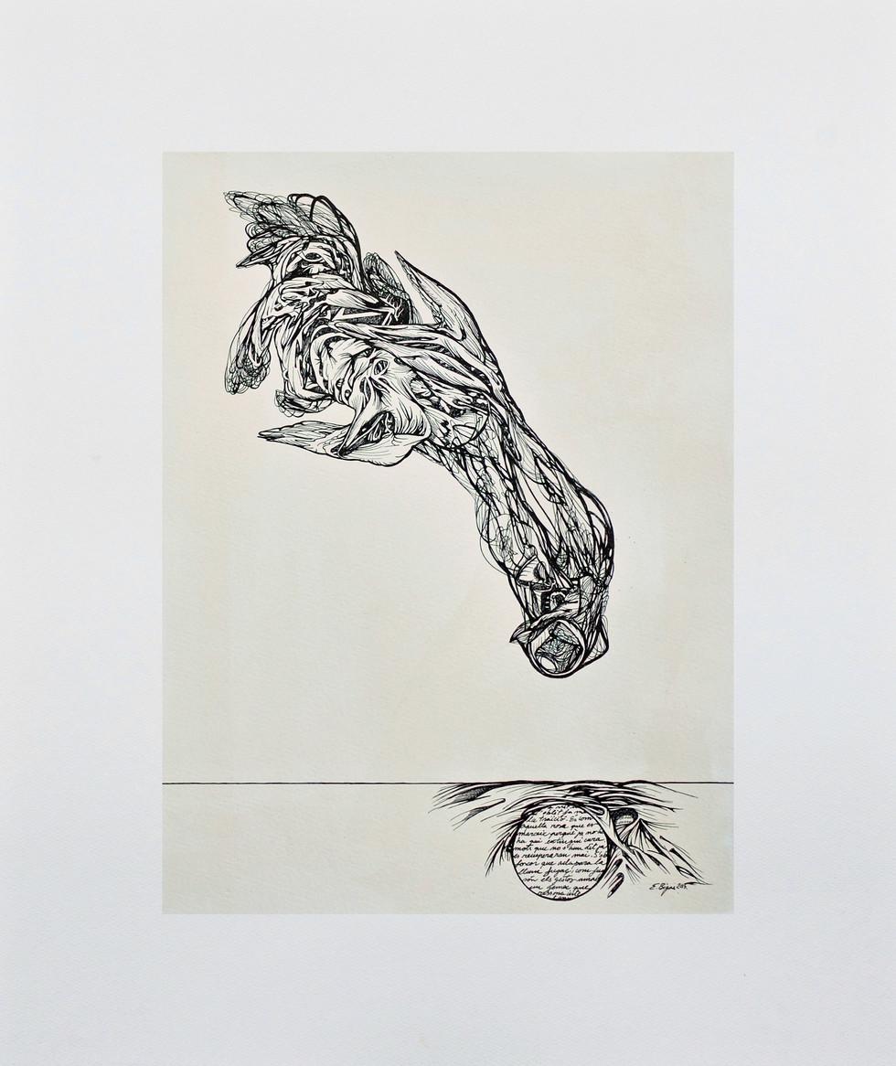 Imaginar-se res 2015 60cmx50cm. Ink and tea on paper