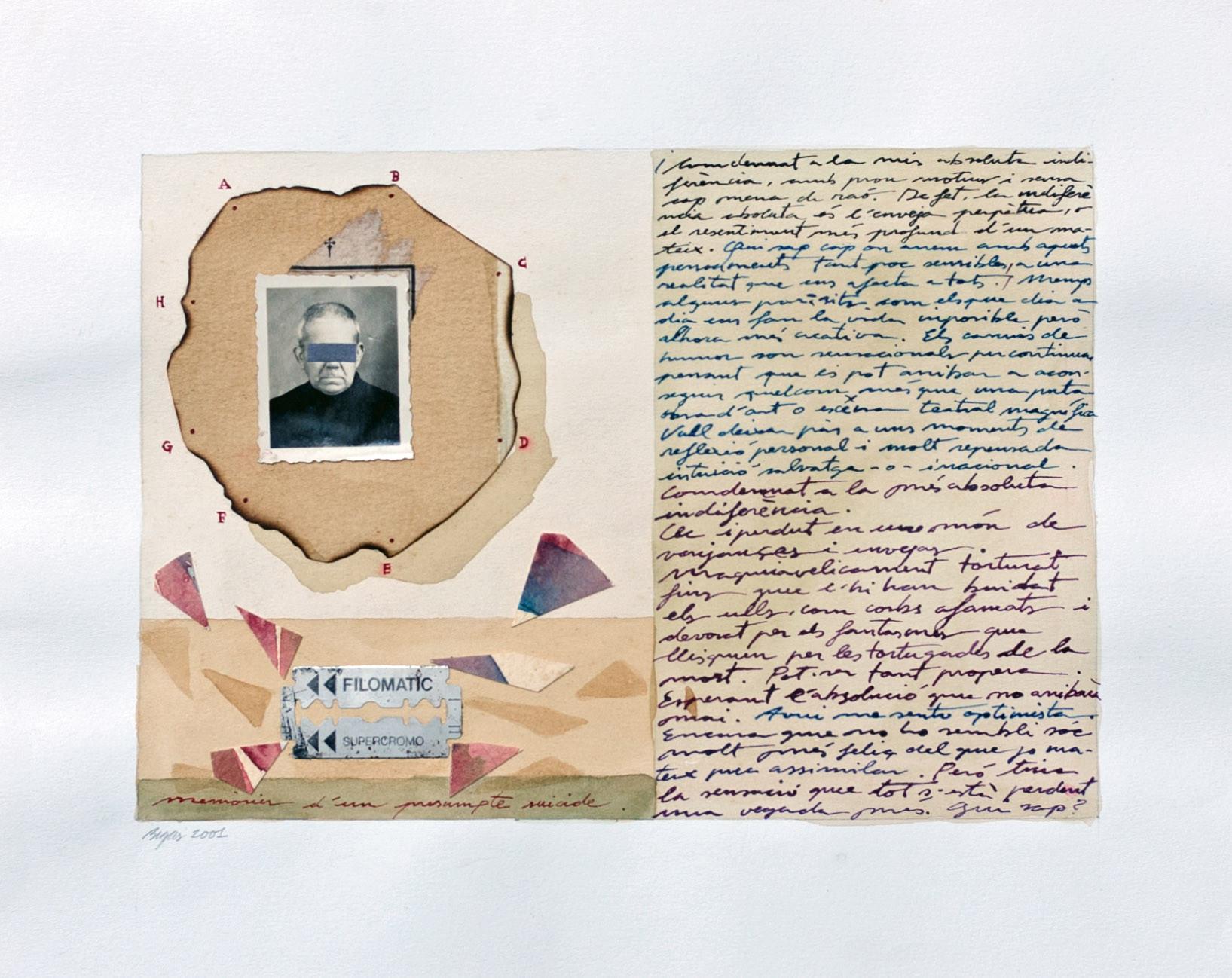 Memories d'un presumpte suicide 2001 29'5x24cm Collage and watercolour on paper